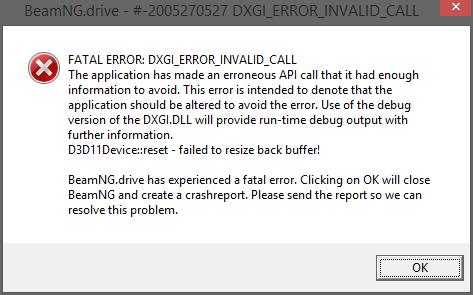 DX11 fatal error | BeamNG