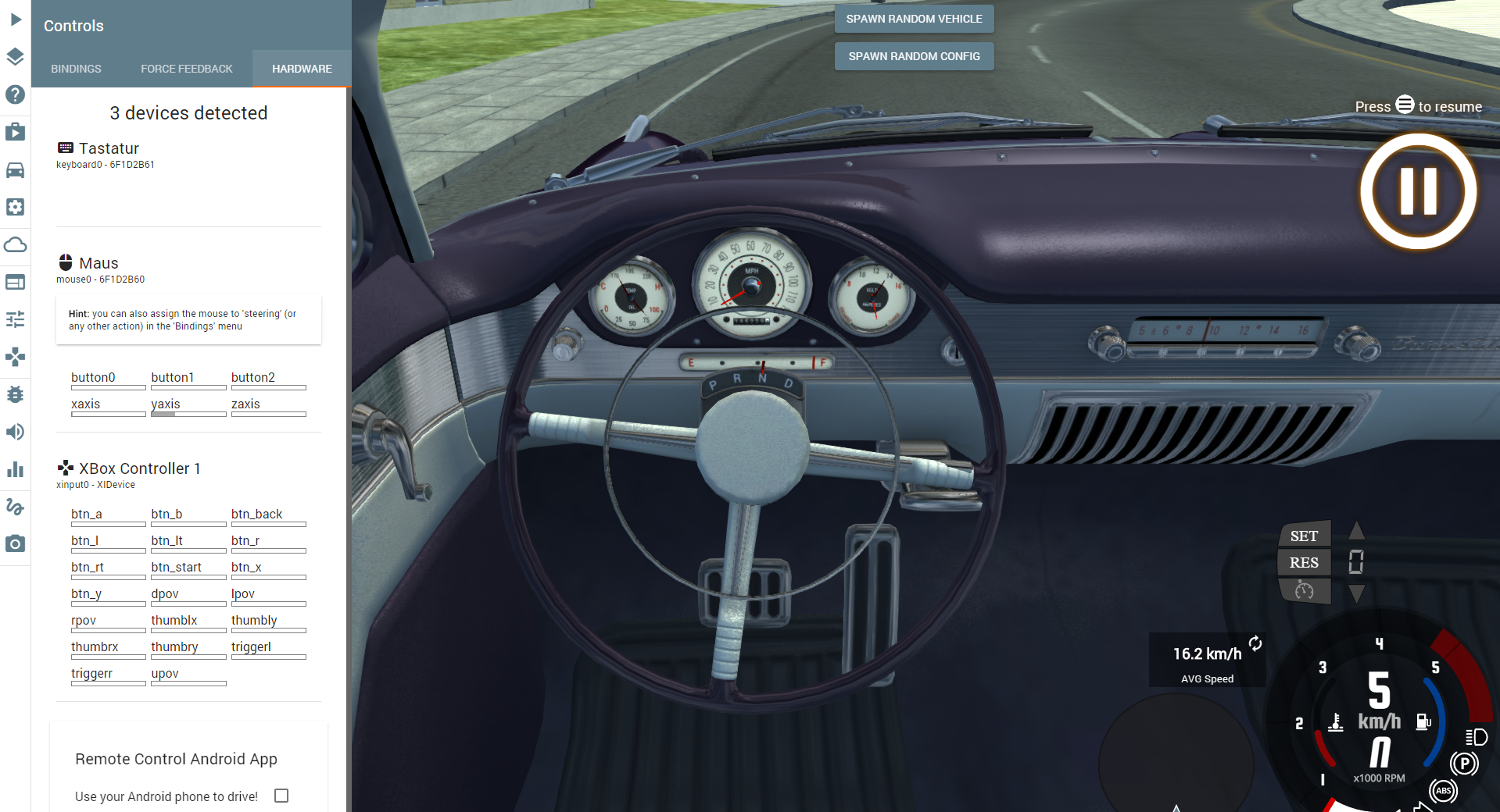 how to set a controller deadzone in beamng drive